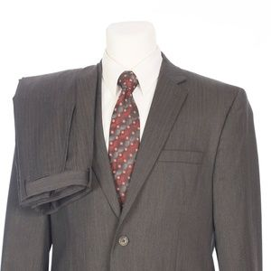 Joseph Abboud Joe Gray Brown Stripe Wool Suit